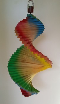 Wind Spinning Wood Spiral, Length 45 cm, Rainbow Colours