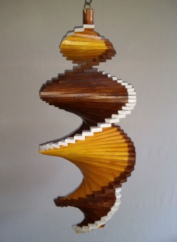 Wind Spinning Wood Spiral, Length 55 cm, Lacquered Light Brown-Pine, Borders Lightbrown-White