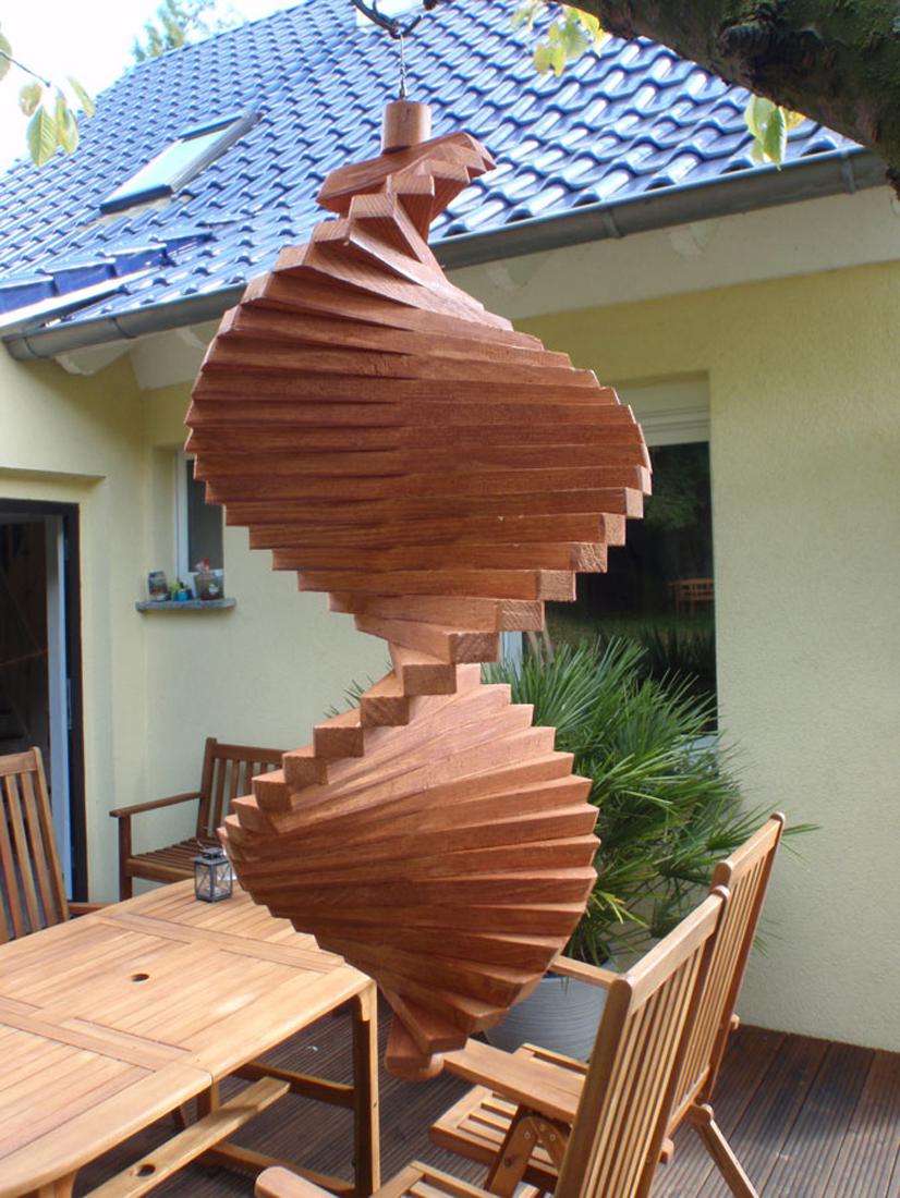 windspiel aus holz windspirale holzspirale l nge 45 cm lasiert farbton mahagoni ws 45 mh. Black Bedroom Furniture Sets. Home Design Ideas