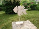 Holzfisch 21 cm, Naturbelassenes Holz, Dekoartikel, Aufstellfigur