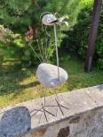 Deko-Figur Vogel, Höhe ca. 75 cm mit Steinkopf, Dekorationsfigur, Steinfigur, Gartenfigur