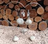 Deko-Figur Herz mit Vögeln, Steinvögel, Dekorationsfigur, Steinfigur, Gartenfigur