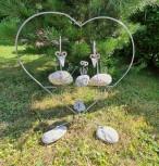 Deko-Figur Herz mit Vögeln, Familie, Steinvögel, Dekorationsfigur, Steinfigur, Gartenfigur