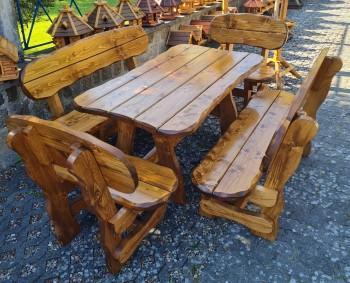 Sitzgruppe SASSNITZ, 5-teilig, Tisch 160 x 90 cm, 2 Bänke 160 cm, 2 Bänke 90 cm