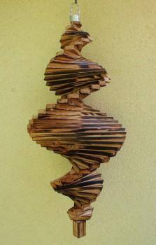 Windspiel aus Holz - Windspirale - Holzspirale, Länge 65 cm - Geflammt