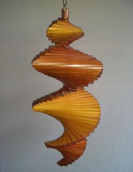 Windspiel aus Holz - Windspirale - Holzspirale, Länge 55 cm - Lackiert, Teak-Kiefer