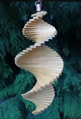 Windspiel aus Holz - Windspirale - Holzspirale, Länge 55 cm - Lasiert, Farbton Eiche