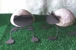 Deko-Figur Frosch, Stein/Stahl schwarz lackiert, Dekorationsfigur, Steinfigur, Gartenfigur
