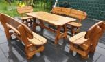 Massive Sitzgruppe SASSNITZ, 5-teilig, Tisch 200 x 90 cm, 2 Bänke 200 cm, 2 Stühle 80 cm