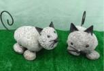 Deko-Figur Katze, Stahl schwarz lackiert, Steinkatze,Dekorationsfigur, Steinfigur, Gartenfigur