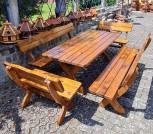 Massive Sitzgruppe JASMUND, 5-teilig, Tisch 200 x 90 cm, 2 Bänke 100 cm, 2 Bänke 200 cm