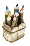 Natural Branch Crayons in 10 Pcs. Set in Birch Basket